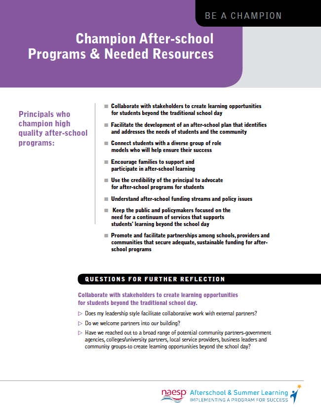 Champion After-school Programs & Needed Resources